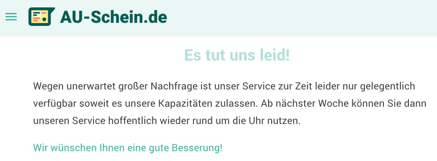 Online AU-Schein Seite down