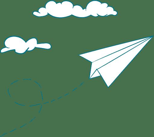 Papierflieger und Wolken Icons Footer