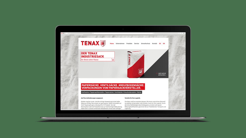 Webseite Tenax Papiersackfabrik