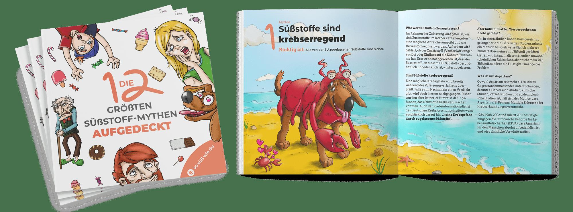 Die 12 größten Süßstoff-Mythen aufgedeckt, Süßstoff-Verband, Comicbuch, Editorial Design Agentur