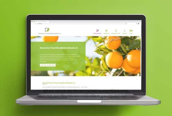 Startseite der Webseite des Deutscher Fruchthandelsverband e.V., rheinland relations übernahm die Webseiten-Entwicklung und das Design