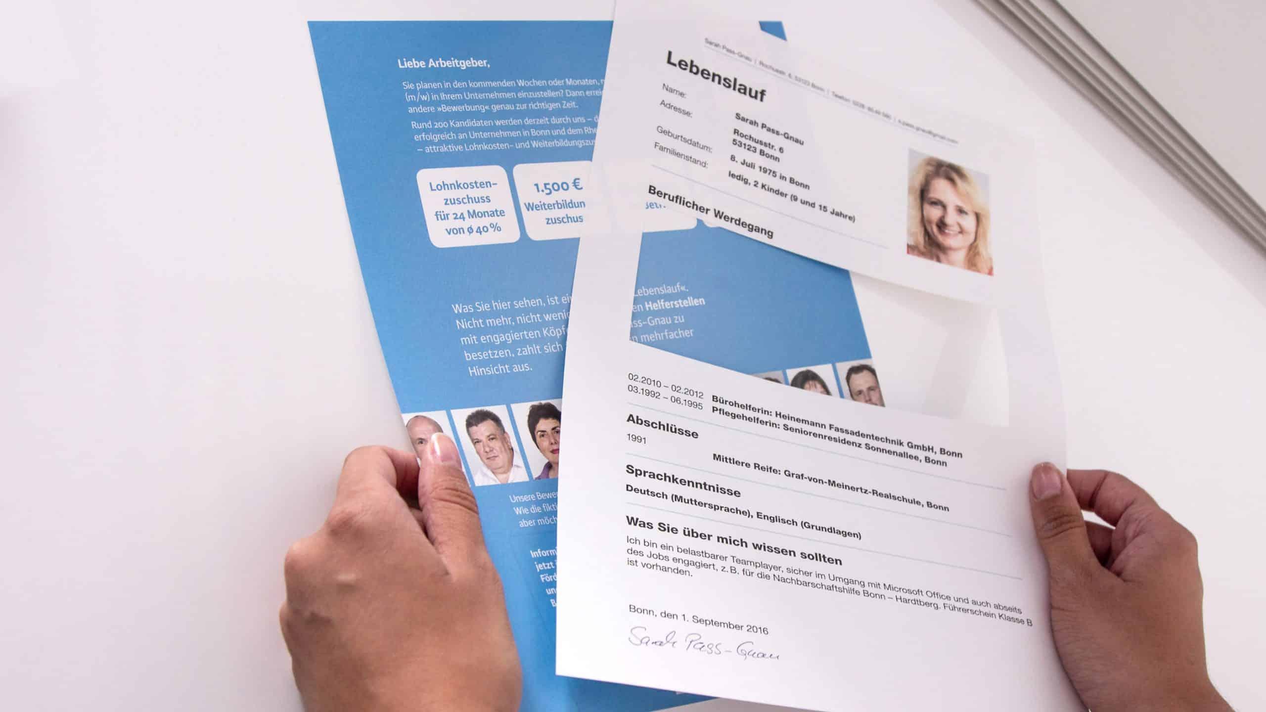 Mailing Bewerbungsmappe fiktiv Jobcenter Bonn
