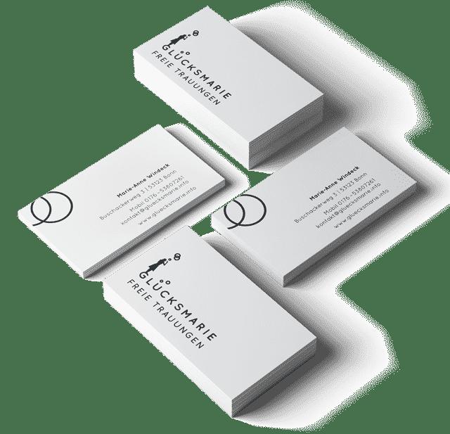 Visitenkarten Glücksmarie freie Trauungen, Traurednerin, Geschäftsausstattung, Corporate Design Agentur