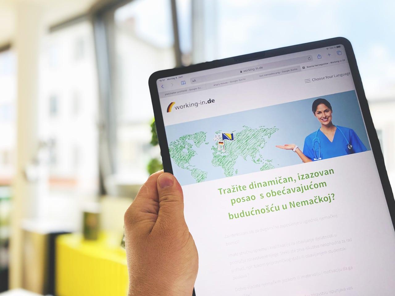 Working in Germany Pflegefachkräfte Webseiten-Entwicklung