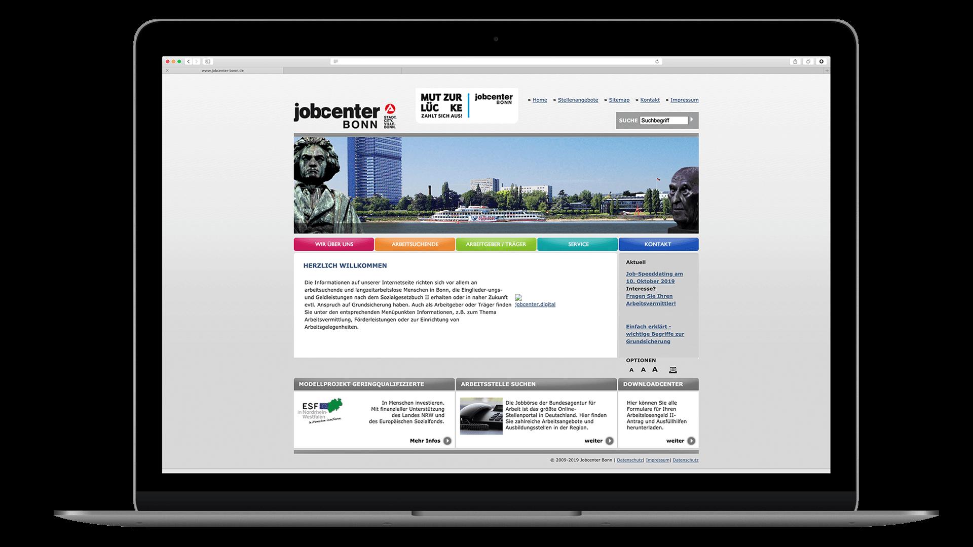 Jobcenter Bonn alte Website