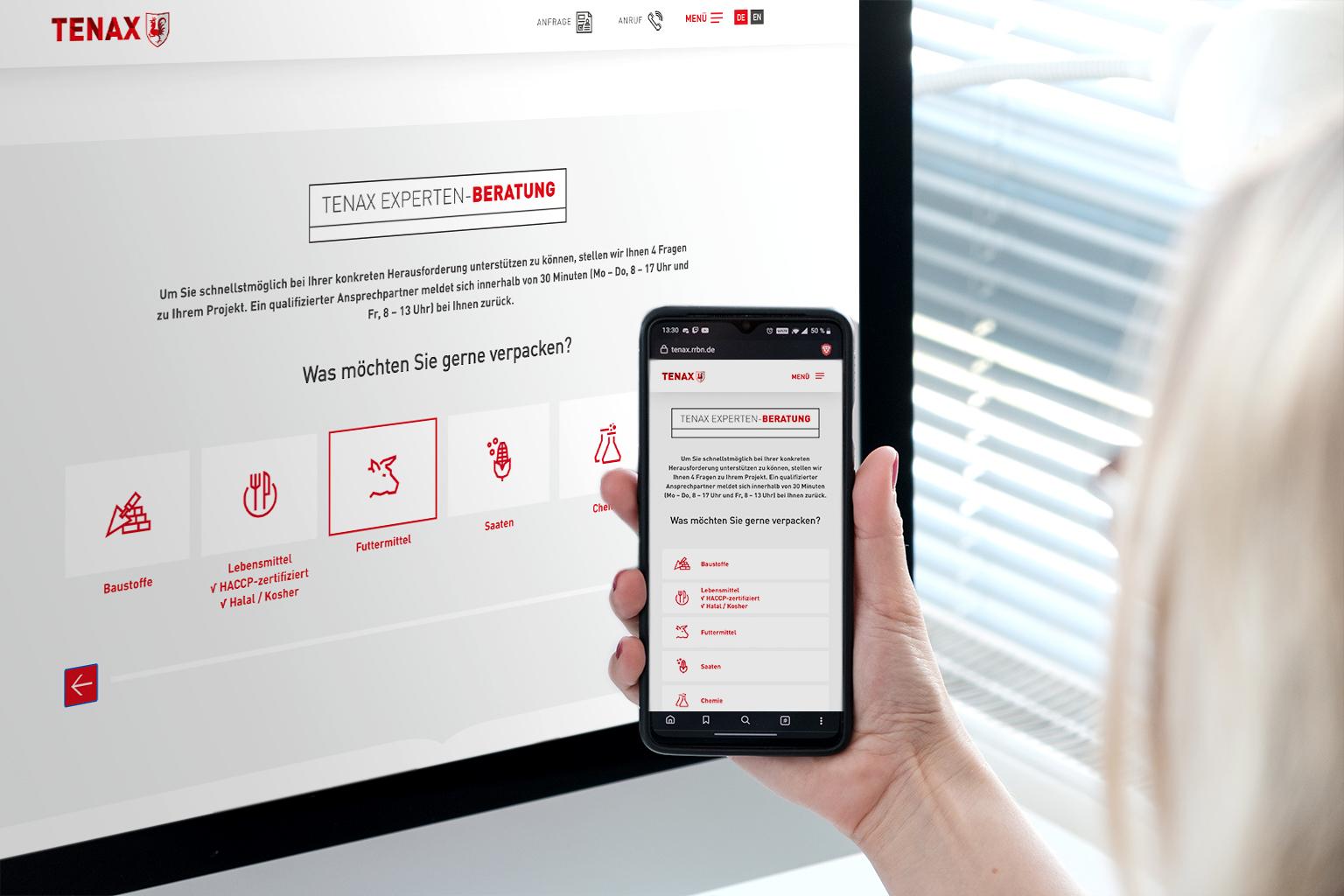 TENAX Leadgenerierungs-Tool Webseite